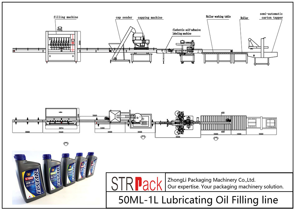 Automatic 50ML-1L Lubricating Oil Filling Line